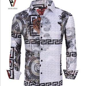 Designer Men's Button Up Long Sleeve Dress Shirt